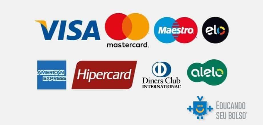bandeiras de cartão visa, mastercard, maestro, elo, american express, hipercard, diners club international e alelo. logo do educando seu bolso na parte inferior